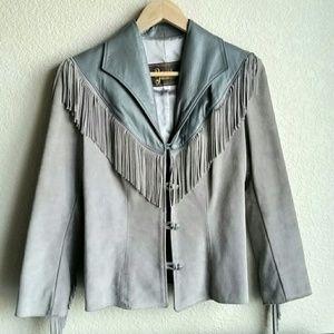 Vintage Western Fringe Leather Jacket Sz 7/8